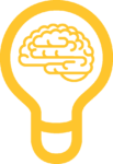 Light bulb with brain inside icon