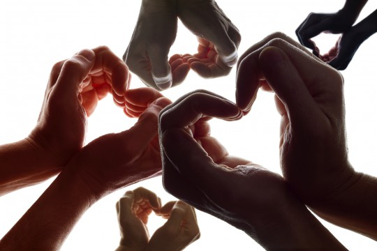 Love symbol from hand