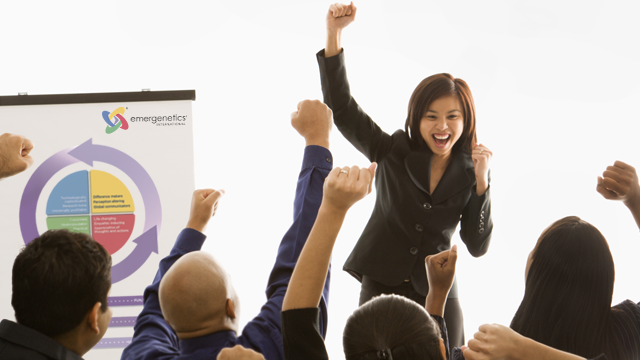 Girl raising hand for project success