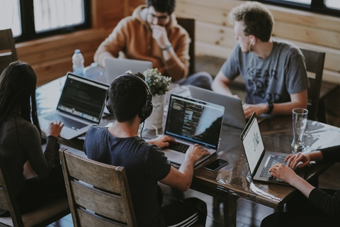 Four people team work