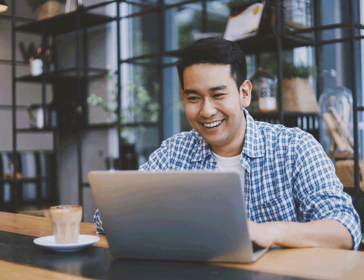 Image of Man Using Computer