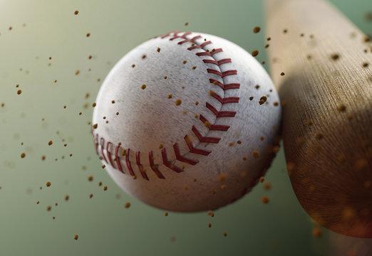 Image of Bat Hitting Baseball