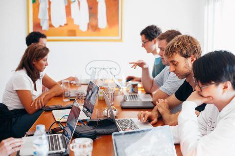 Team work on table