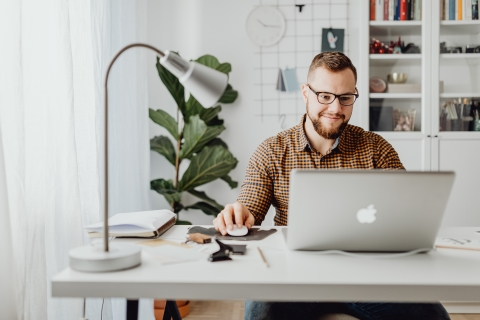 Person working at home office