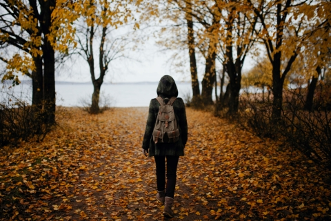 Person with a backpack walking on leaves toward a body of water