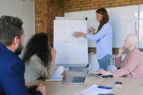 Person pointing to a flipchart while colleagues look on